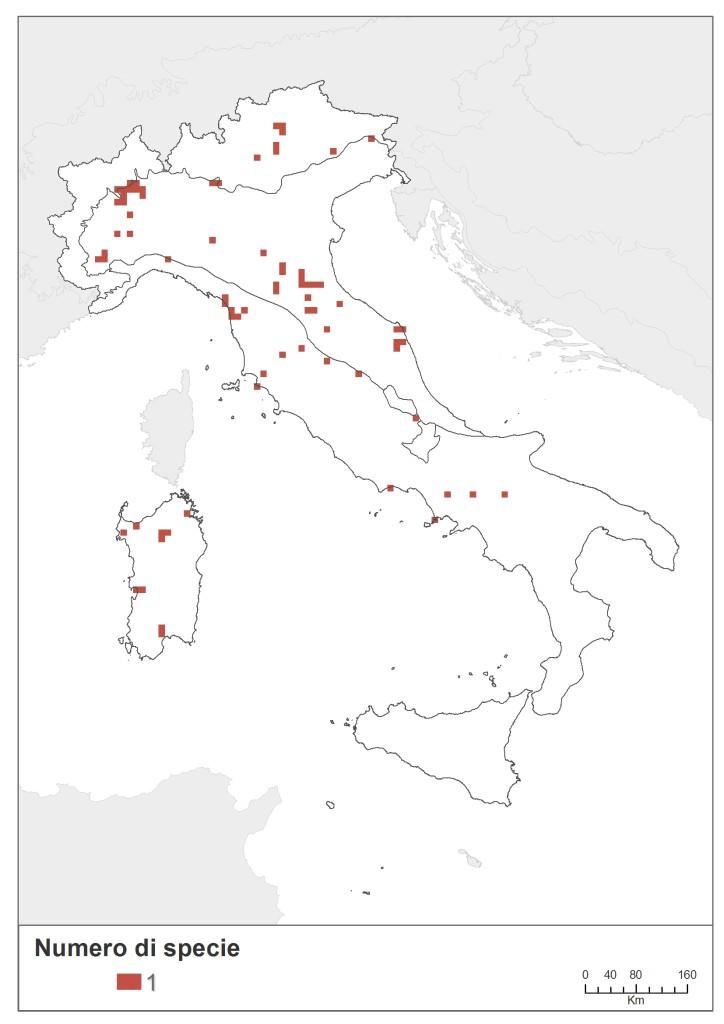 Fig. 3.3.27 - Distribuzione della ricchezza di specie di odonati con stato di conservazione sfavorevole (inadeguato o cattivo).